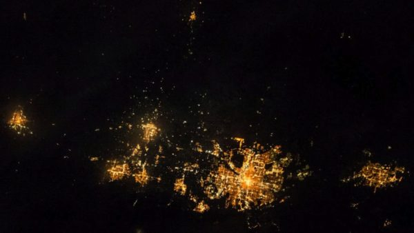 ISS, astronaut, Front Range at night