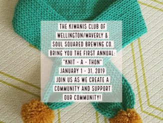 "A community ""Knit-a-thon"" sponsored by the Wellington – Waverly Kiwanis Club and Soul Squared Brewing Company"