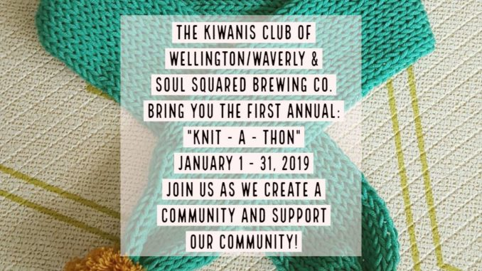 """A community """"Knit-a-thon"""" sponsored by the Wellington – Waverly Kiwanis Club and Soul Squared Brewing Company"""
